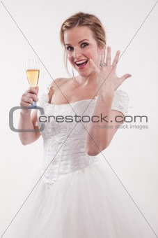 Attractive young caucasian blonde bride