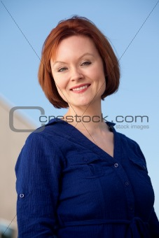 Attractive caucasian brunette thirties woman