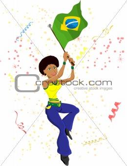 Black Girl Brazil Soccer Fan with flag.