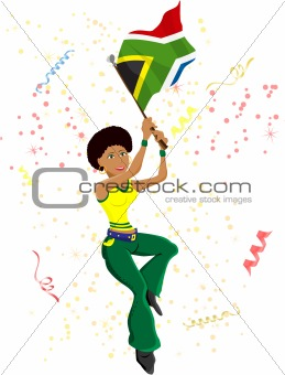 Black Girl South Africa Soccer Fan with flag.