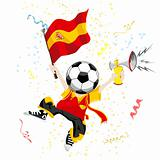 Spain Soccer Fan with Ball Head.