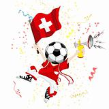 Switzerland Soccer Fan with Ball Head.