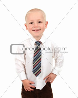 Small Kid in a Button Down Shirt and Tie