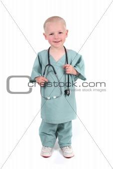 Boy Wearing Scrubs Holding a Stethoscope