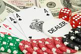 poker background with dollars, aces and dices