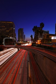 Timelapsed Traffic in Downtown Los Angeles at Night
