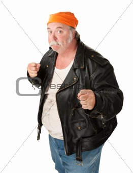 Obese gang member on white background