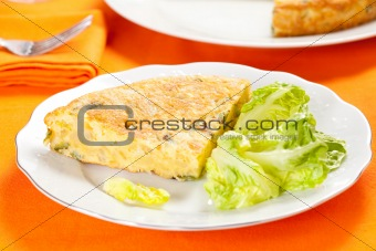 potato omelette with olive oil and green pepper
