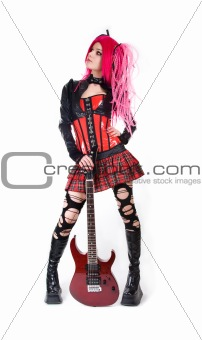 Attractive girl with electro guitar