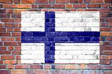 Finnish flag painted on wall