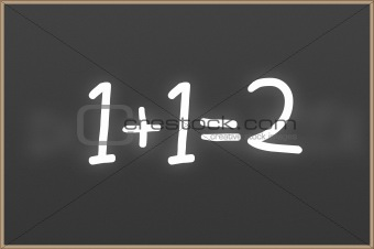 Chalkboard with text 1+1=2