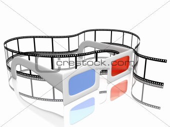 3d glasses and filmstrip