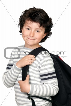 Beautiful student child with heavy backpack