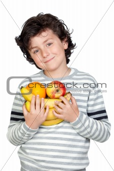 Beautiful child with many fruits