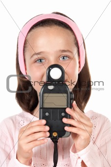 Beautiful girl dressed in pink with photometers