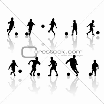 little football  players silhouette