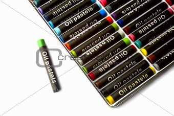 oil pastels  in many colors on white