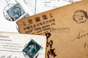 Foreign postcards with stamps
