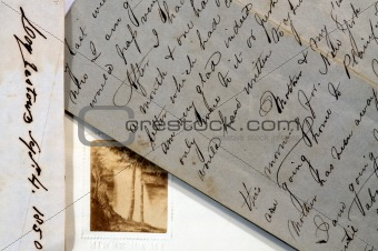 Old letters with script writing
