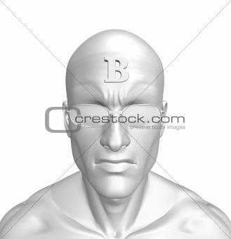 b on forehead