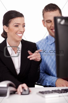 Business colleague smiling while discussing