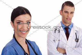 Close up portrait of smiling doctors