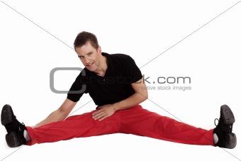 Fitness men doing streching exercise