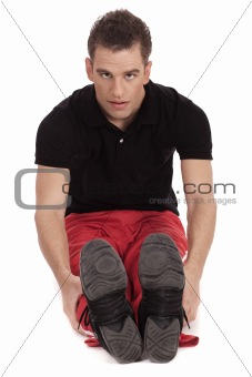 Fitness men streching leg