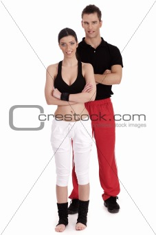Fitness couple posing to camera