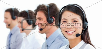 Assertive business people in a call center
