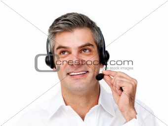 Charming customer service agent with headset on