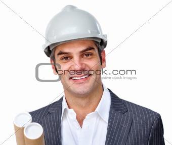 Mature male architect wearing a hardhat