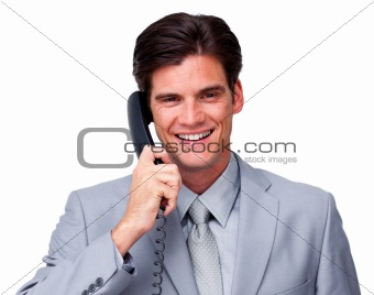 Positive male executive on phone