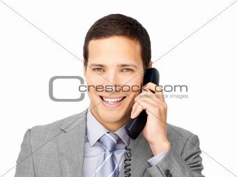 Smiling businessman on phone