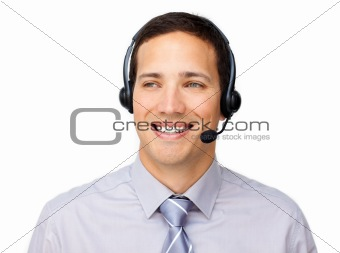Attractive businessman talking on headset