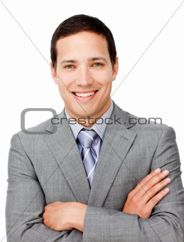 Positive businessman with folded arms
