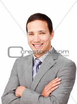 Assertive businessman with folded arms