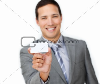 Positive businessman showing a white card against a white background