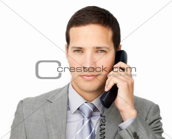Beautiful businessman on phone
