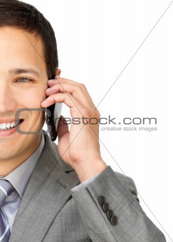 Caucasian businessman talking on phone