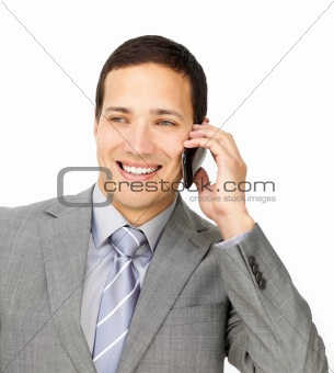 Assertive male executive on phone