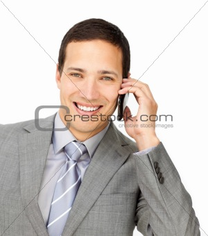 Charming male executive on phone