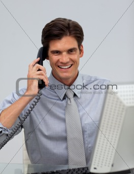 Charming businessman on phone