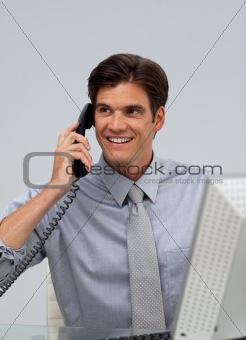 Assertive caucasian businessman on phone