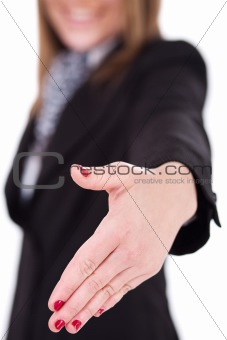 Business women offering a hand shake
