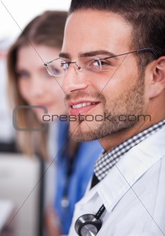 Attractive doctor smiling