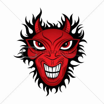 Angry devil horror face