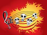 Music wallpaper with skulls