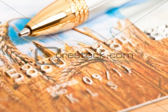 golden pen with credit card