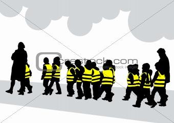 Crowds kids walk